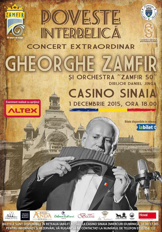 Afiș Gheorghe Zamfir Concert la Teatrul Casino Sinaia 2015