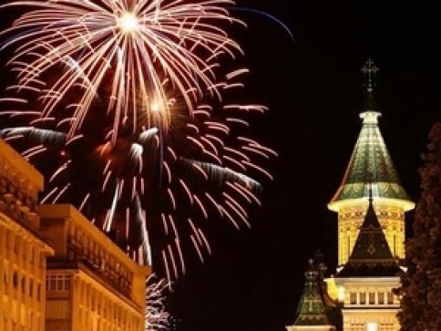 Revelion 2016 în Piața Victoriei Timișoara