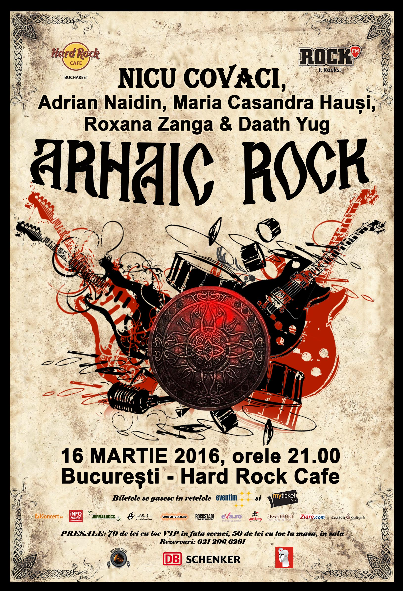 Afiș Arhaic Rock Hard Rock Cafe 2016