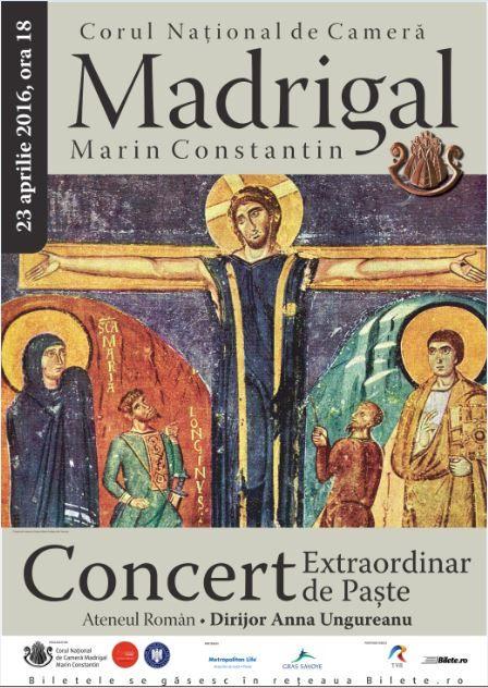 Afiș Corul Național de Cameră Madrigal Concert Ateneul Român 2016