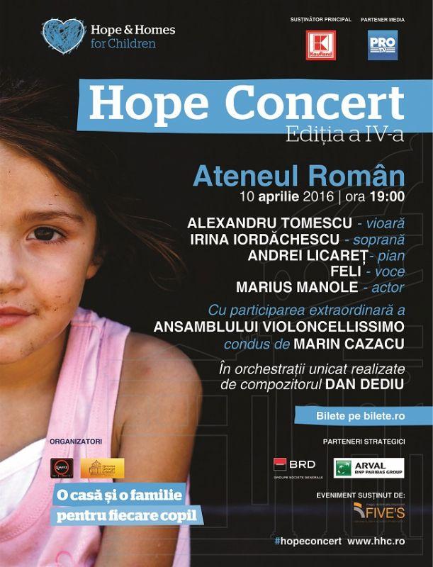 Afiş Hope Concert Ateneul Român 2016