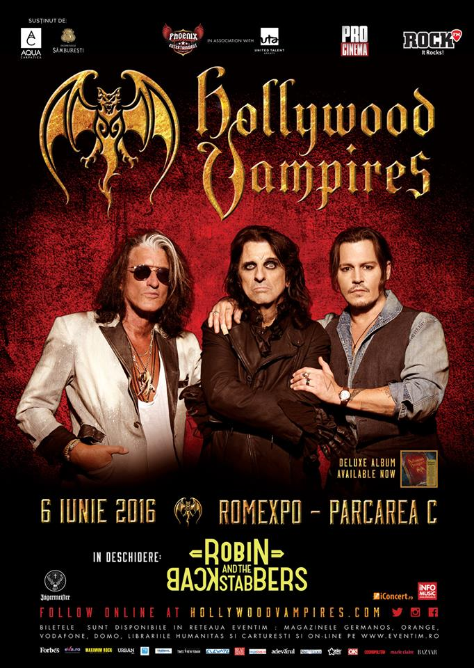 The Hollywood Vampires (Johnny Depp, Alice Cooper și Joe Perry) la Romexpo