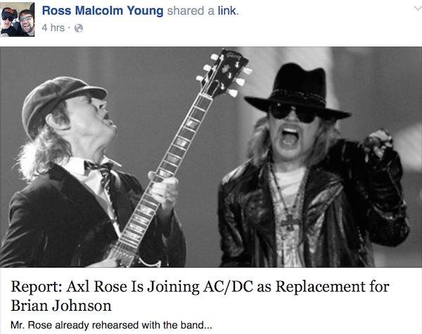 Postarea lui Ross Young privind venirea lui Axl în AC/DC