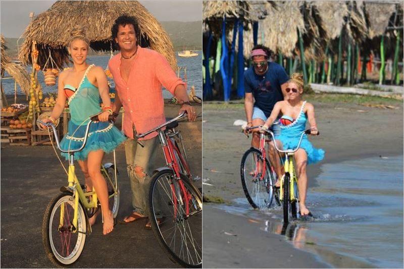 "Carlos Vives și Shakira la filmările videoclipului ""La Bicicleta"""