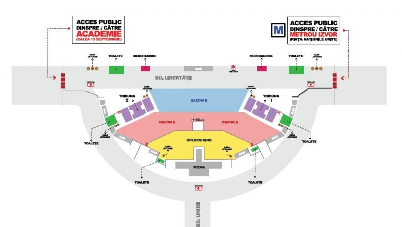 Harta acces în Piața Constituției la concertul Queen + Adam Lambert