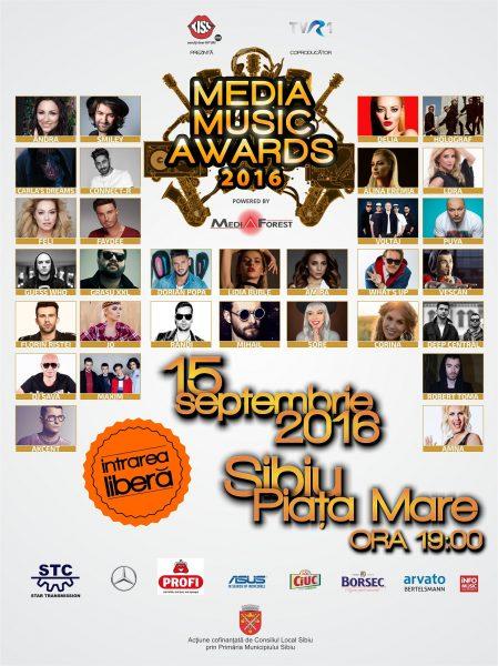 Poster eveniment Media Music Awards 2016