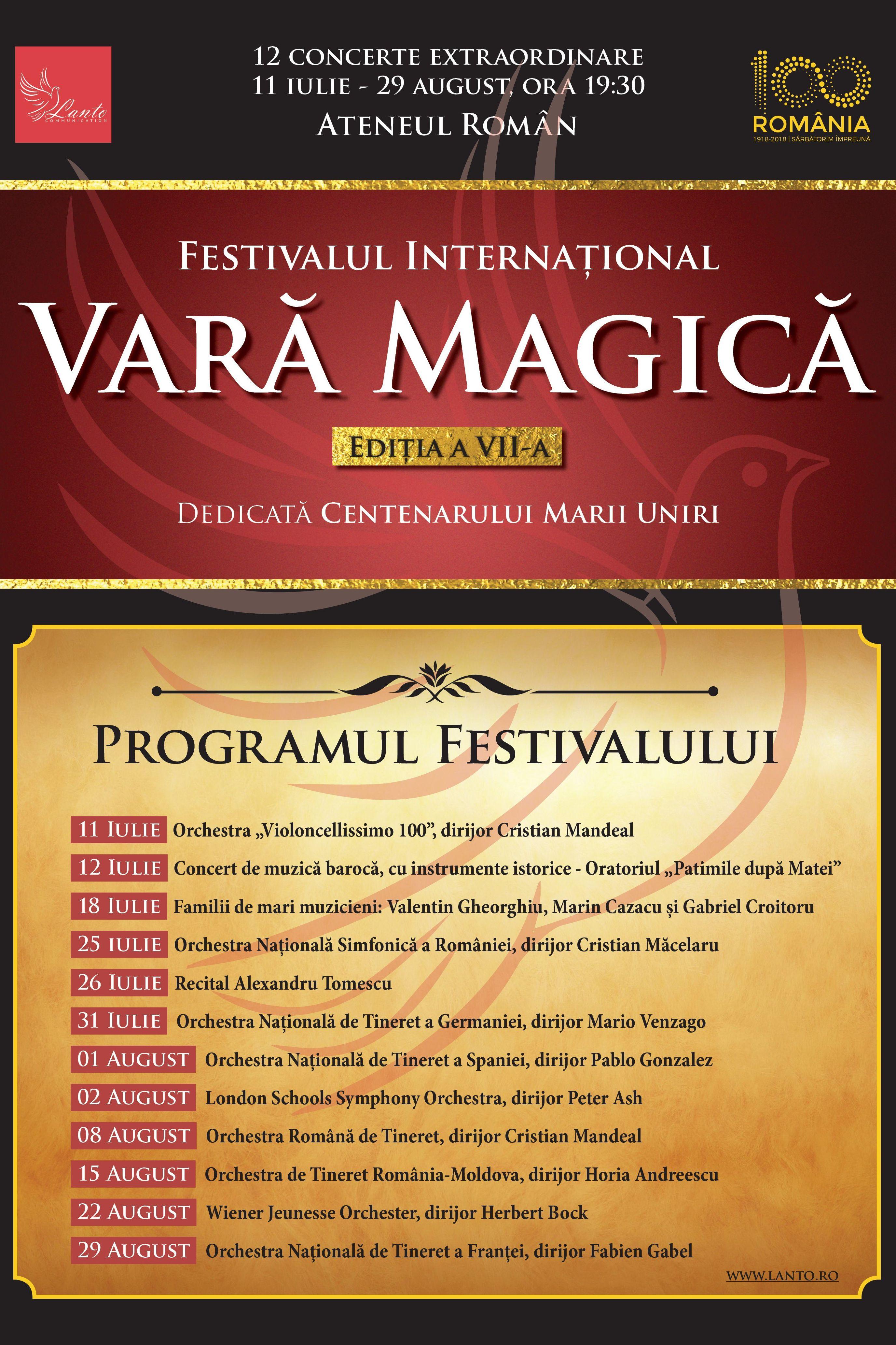 Festivalul Vara Magică 2018 la Ateneul Român