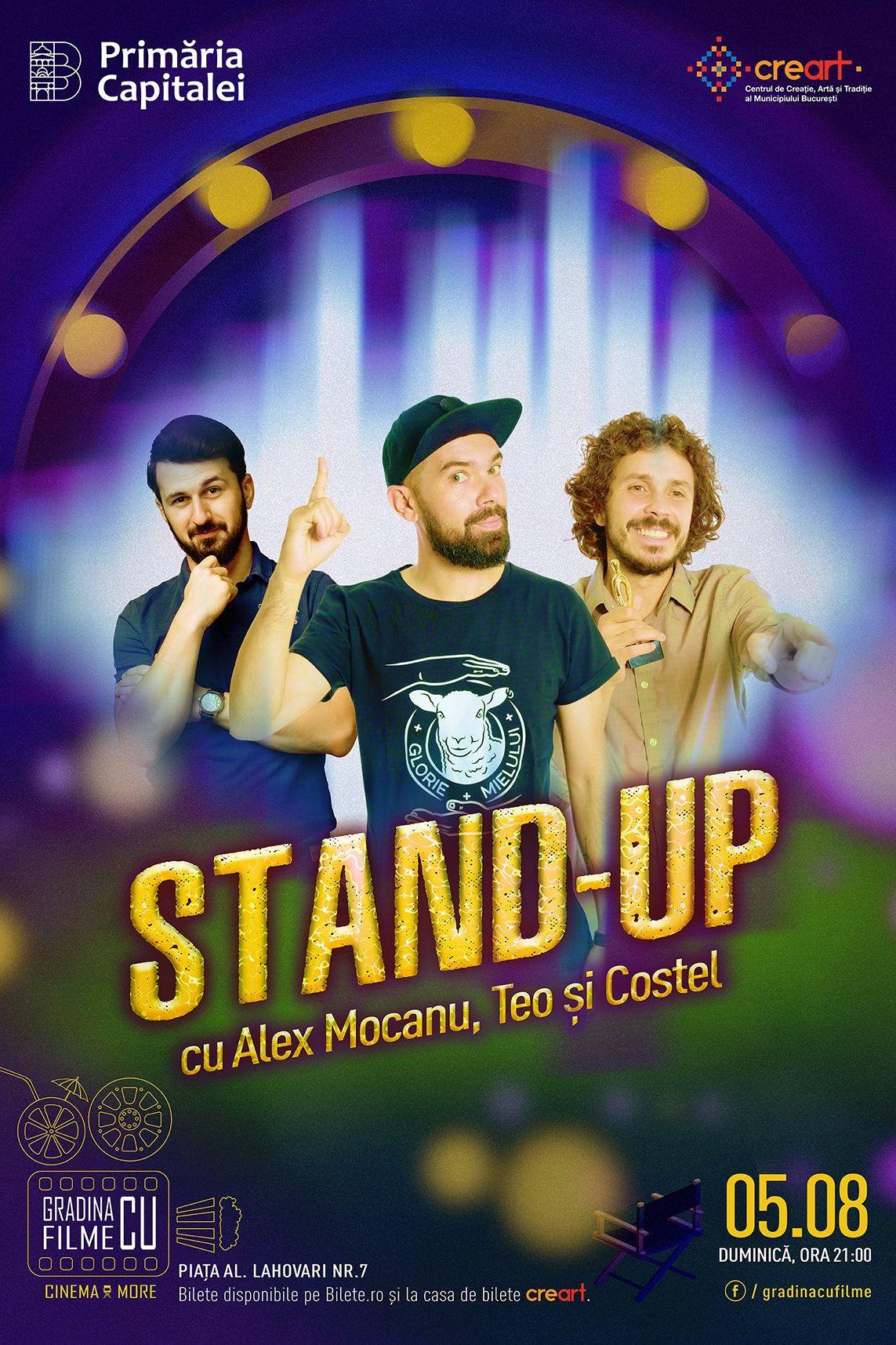 Stand up comedy cu Alex Mocanu, Teo și Costel la Grădina cu filme