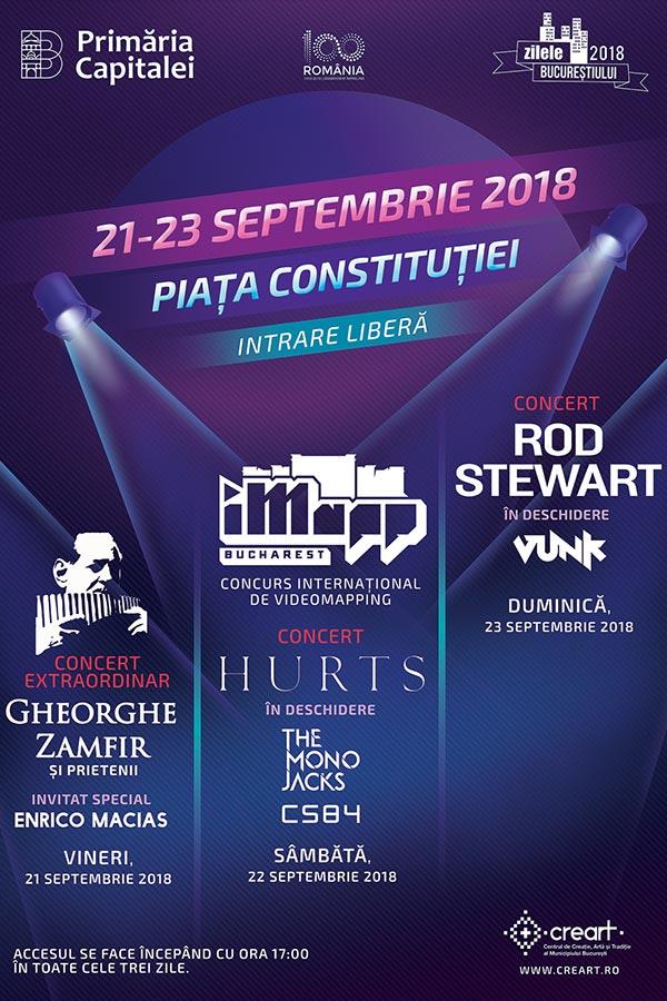 Zilele Bucureștiului 2018: Rod Stewart, Hurts, Gheorghe Zamfir la Piața Constituției