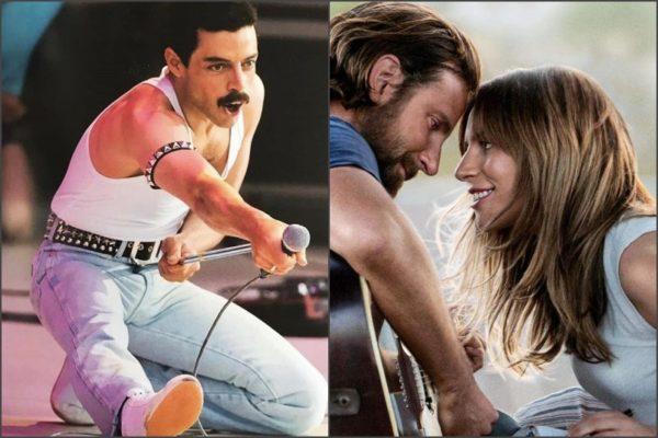 "Rami Malek în ""Bohemian Thapsody"" / Lady Gaga și Bradley Cooper în ""A Star Is Born"""