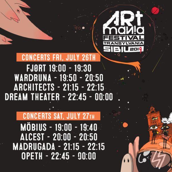 Program pe zile și ore ARTmania 2019