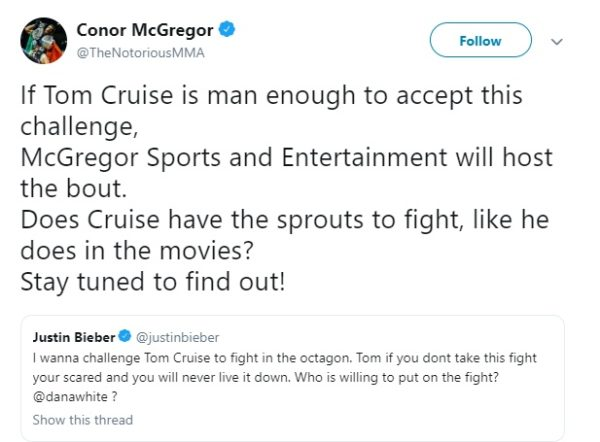 Tweet Conor McGregor ‏