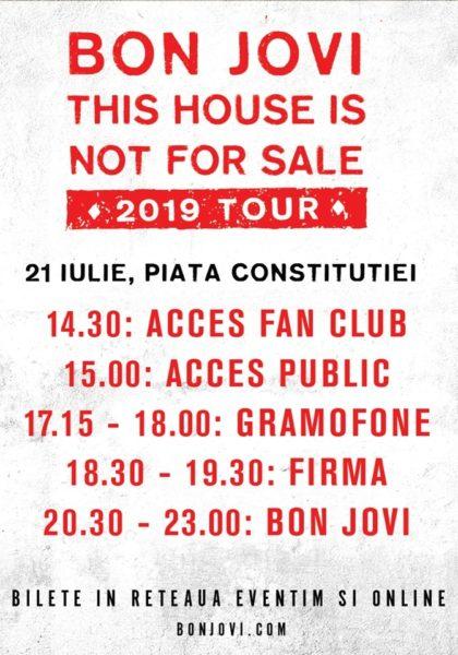 Programul concertului Bon Jovi