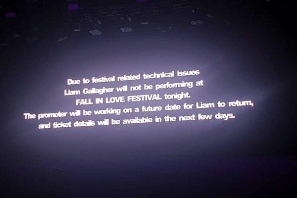 Concertul lui Liam Gallagher de la Fall In Love a fost anulat