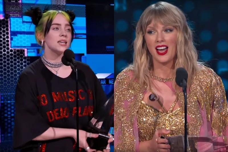 Billie Eilish / Taylor Swift @gala American Music Awards 2019 (Screenshot)