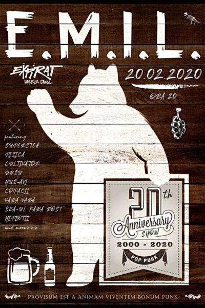 Poster eveniment E.M.I.L. - aniversare 20 de ani