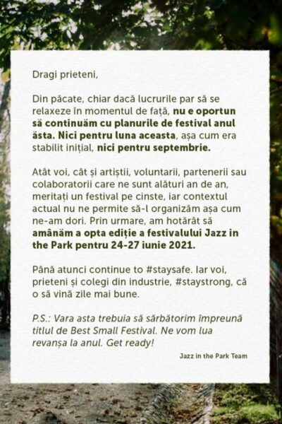 Poster eveniment Jazz in the Park 2020