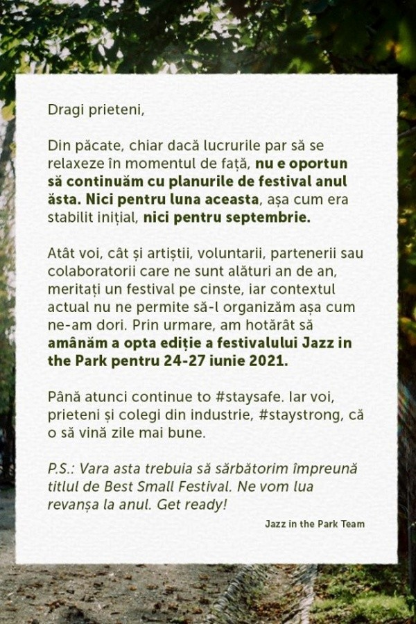 Jazz in the Park 2020 la Parcul Central Cluj