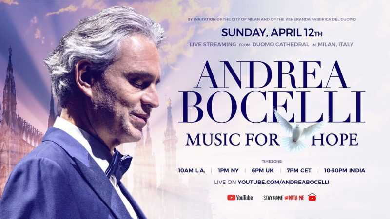 Poster Andrea Bocelli Music for Hope 2020
