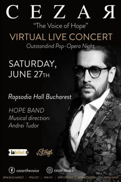 "Poster eveniment Cezar Ouatu - \""The Voice of Hope\"" - Global Live Concert"