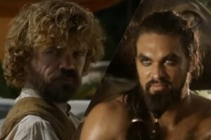 Peter Dinklage și Jason Momoa în Game of Thrones (captură ecran)