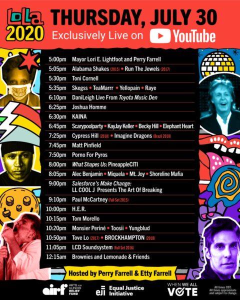 Lollapalooza 2020 - Programul de joi, 30 iulie