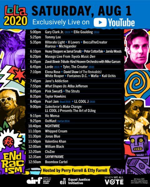 Lollapalooza 2020 - Programul de sâmbătă, 1 august