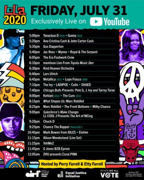 Lollapalooza 2020 - Programul de vineri, 31 iulie