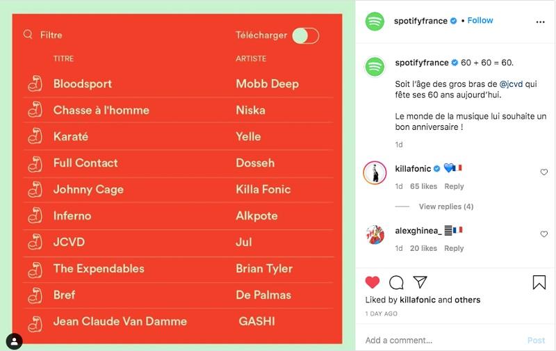 Playlist realizat de Spotify Franța pentru Jean Claude Van Damme