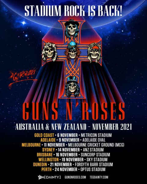 Afișul turneului Guns N' Roses din 2021