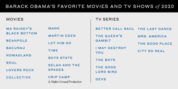 Filme preferate Barack Obama 2020