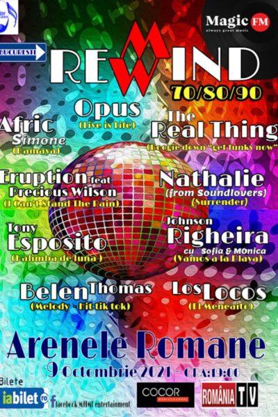 Poster eveniment București Rewind 70/80/90
