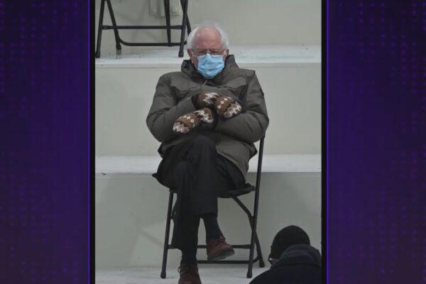 Bernie Sanders la ceremonia de învestire a lui Joe Biden