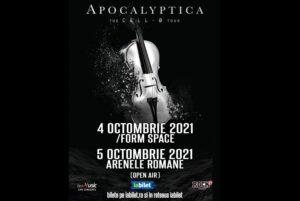 Poster concert Apocalyptica Bucuresti Cluj-Napoca 2021