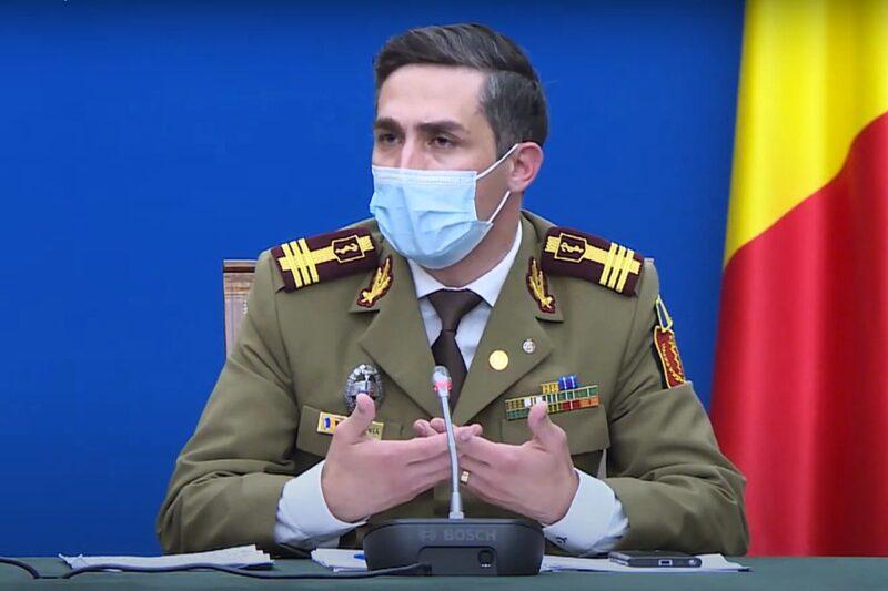 Col. dr. Valeriu Gheorghiță în cadrul conferinței de presă susținute pe 27 aprilie la Palatul Victoria