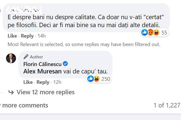 Schimb de replici între Florin Călinescu și unul dintre comentatorii lui de pe Facebook